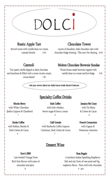 Dessert Menu Download